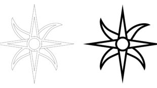 The dice symbols from Nod's Way have been incorporated into Dvarsh Book, the font currently at center of Stikmantic activity. The Daystar outline on the left shows construction of its font glyph, while the solid image on the right shows how the character will print.