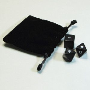 Included with the oracle dice and dice bag is an interpretive pocket card.